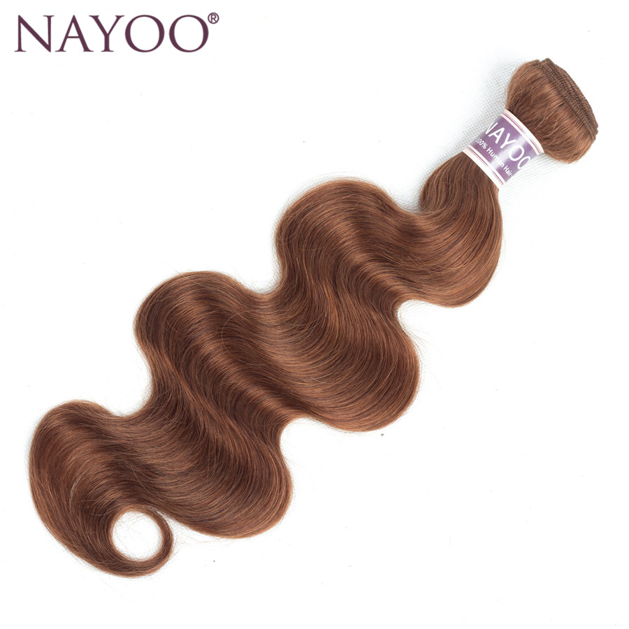 NAYOO Non Remy Hair Bundles Brazilian Body Wave 100g Human Hair Weave Extensions 1PCS Only Pre-Colored Brown #30 10-24