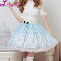 Light Sky Blue Sweet Checkered Elastic Wast Lolita Skirt For Lady with Crowned Bow Free Shipping