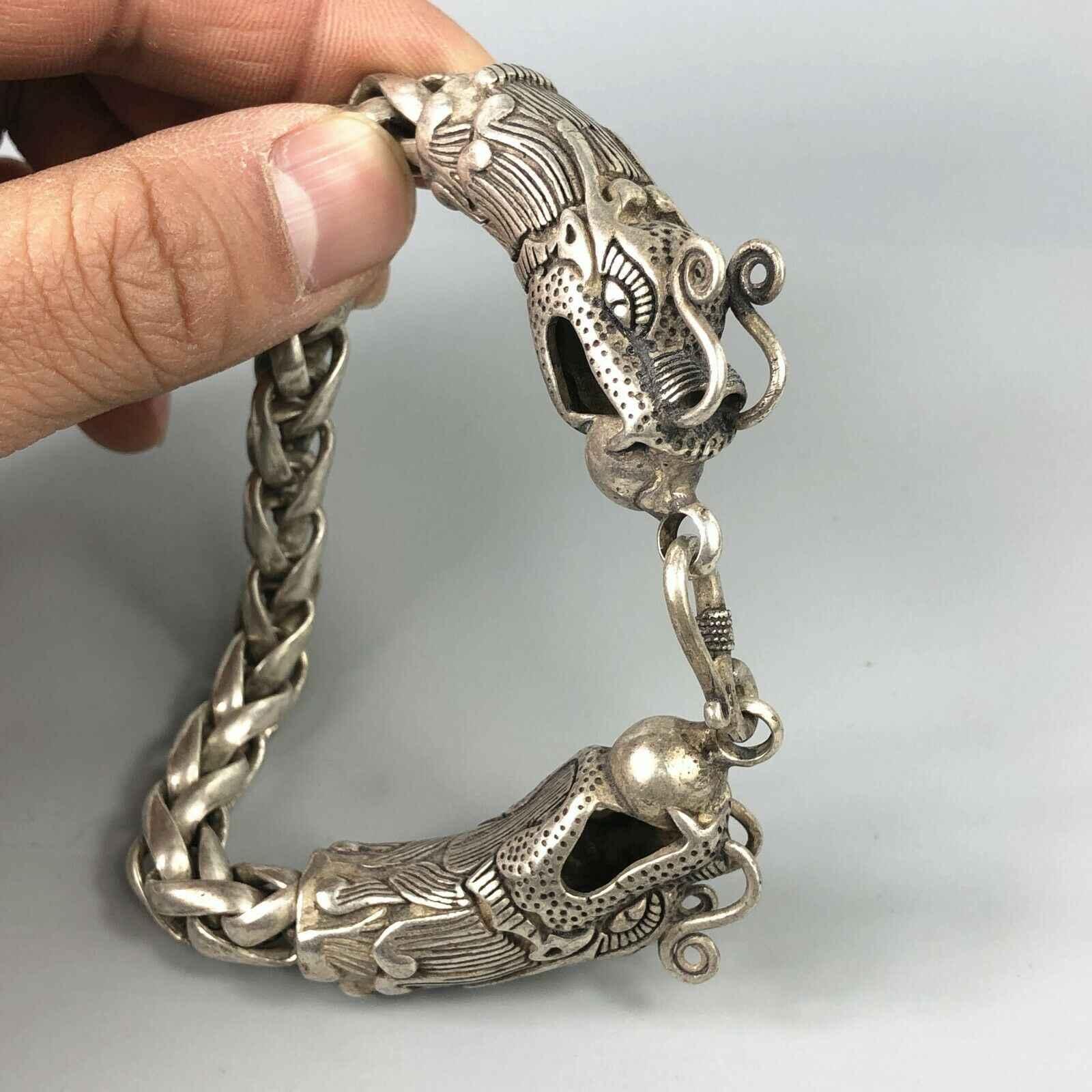 Rare China tibet silver Guan Yin Goddess Buddha Dragon Bullion thanka amulet