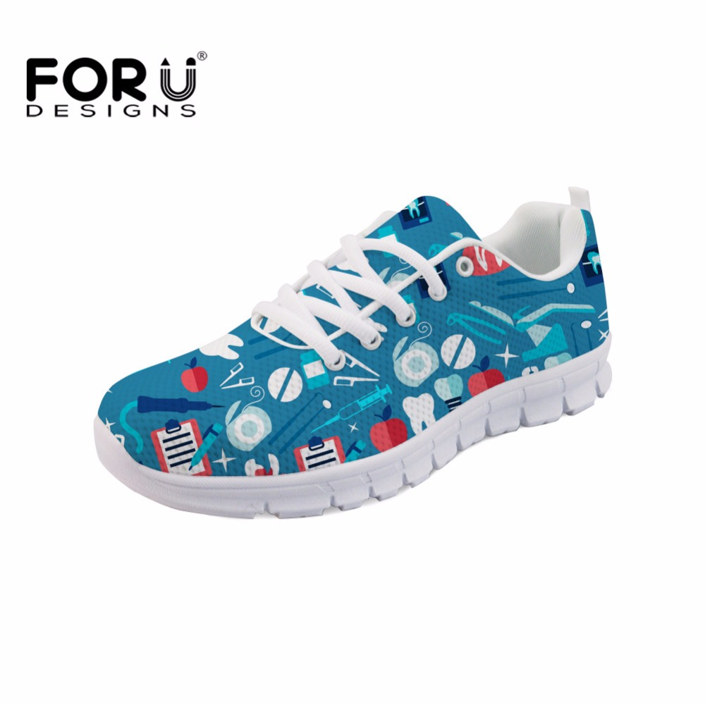FORUDESIGNS Women Casual Flats Cute Cartoon Dentist Dental Equipment Pattern Mesh Sneakers Female Lace Up Breathable Flat Shoes instantarts cute cartoon pediatrics doctor print summer mesh sneakers women casual flats super light walking female flat shoes