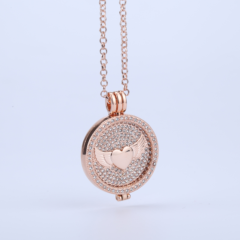 new rose gold angel wings 35mm coin holder frame necklace pendant floral crystal cooperate with 33mm coin for women diy jewelry