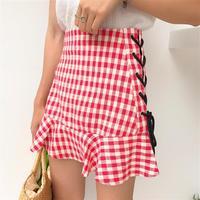 Women Ruffles Skirt Red Black White Tartan Check Plain High Waist Falbala Lace Up Tie Campus