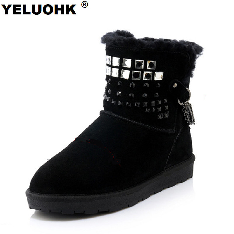 Fashion Bling Boots Winter Shoes Women Plush Ankle Boots For Women Warm Crystal Snow Boots Ladies Shoes Platform With Fur