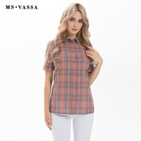 MS VASSA Women Blouses 2017 Summer Plaid Shirts Cotton Short Sleeve Casual Ladies Loose Basic Turn
