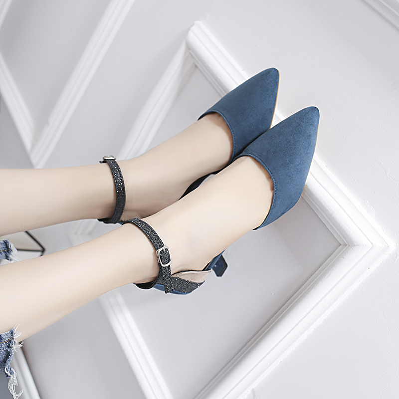 HKJL The Korean version of the 2019 spring fashion sandal is a pointed suede midsole sandal with a belt buckle for women A272 in Women 39 s Pumps from Shoes