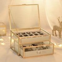 Vintage Copper decoration Glass jewelry box Jewelry Watch Finishing box Double Necklace Storage Rack Desktop storage box
