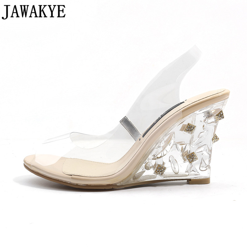2018 Best selling PVC Transparent Shoes women Clear crystal wedge heels rivets and crystal studded heel Summer Sandals ladies ladylike women s sandals with transparent plastic and crystal design