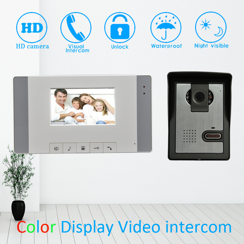 4'' Color LCD Screen Video Door Phone Door Bell Home Garden Door Intercom System IR Night Vision 1 To 1 Waterproof Unlock