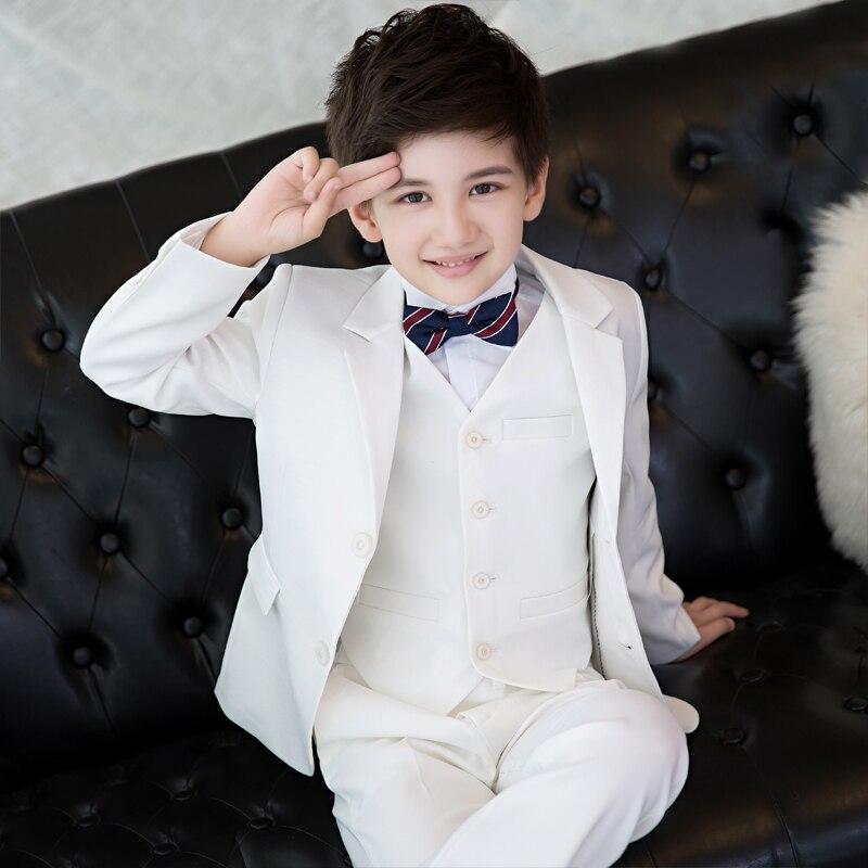 Petit costume enfant costume blanc à manches longues garçon costume formel mariage robe de demoiselle d'honneur garçon hôte piano costume