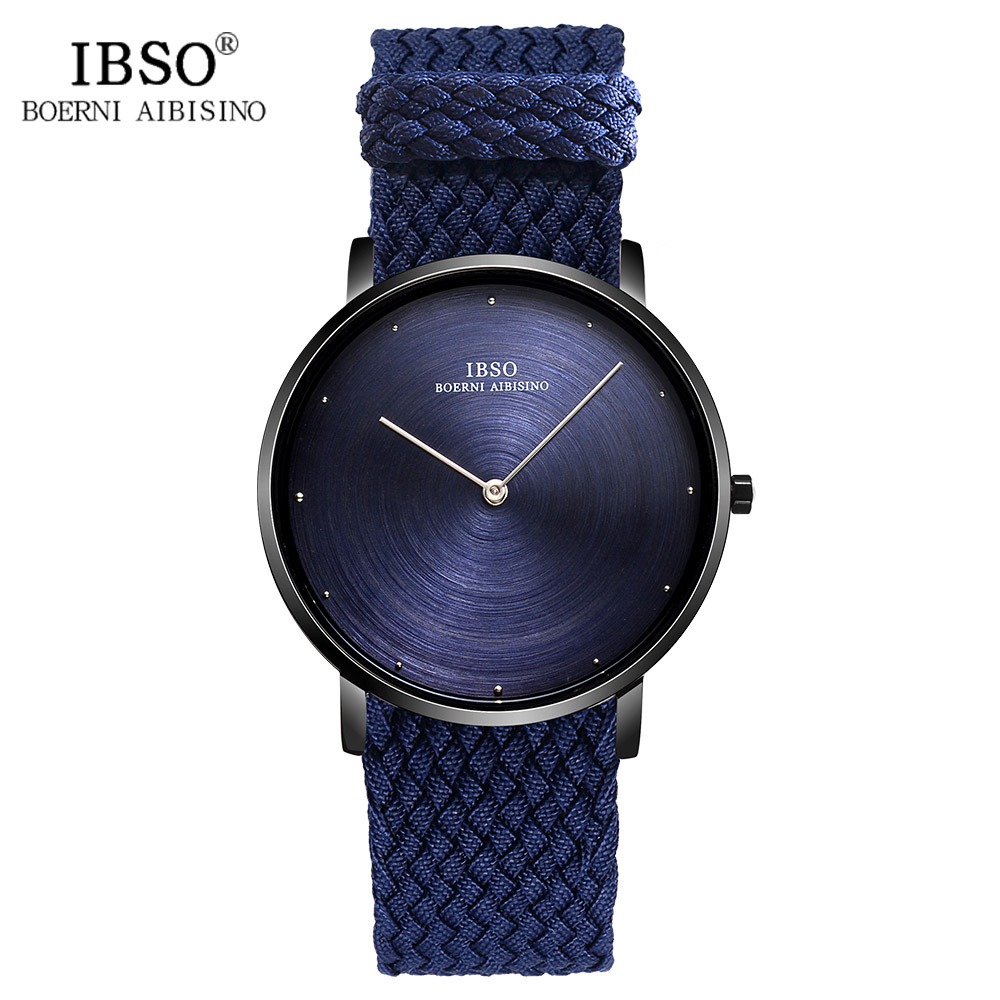 IBSO 7MM Ultra-thin Mens Watches 2018 Nylon Braided Strap Quartz Wristwatch Blue Fashion Male Clock Luxury Relogio Masculino ultra thin 7 touch screen lcd wince 6 0 gps navigator w fm internal 4gb america map light blue