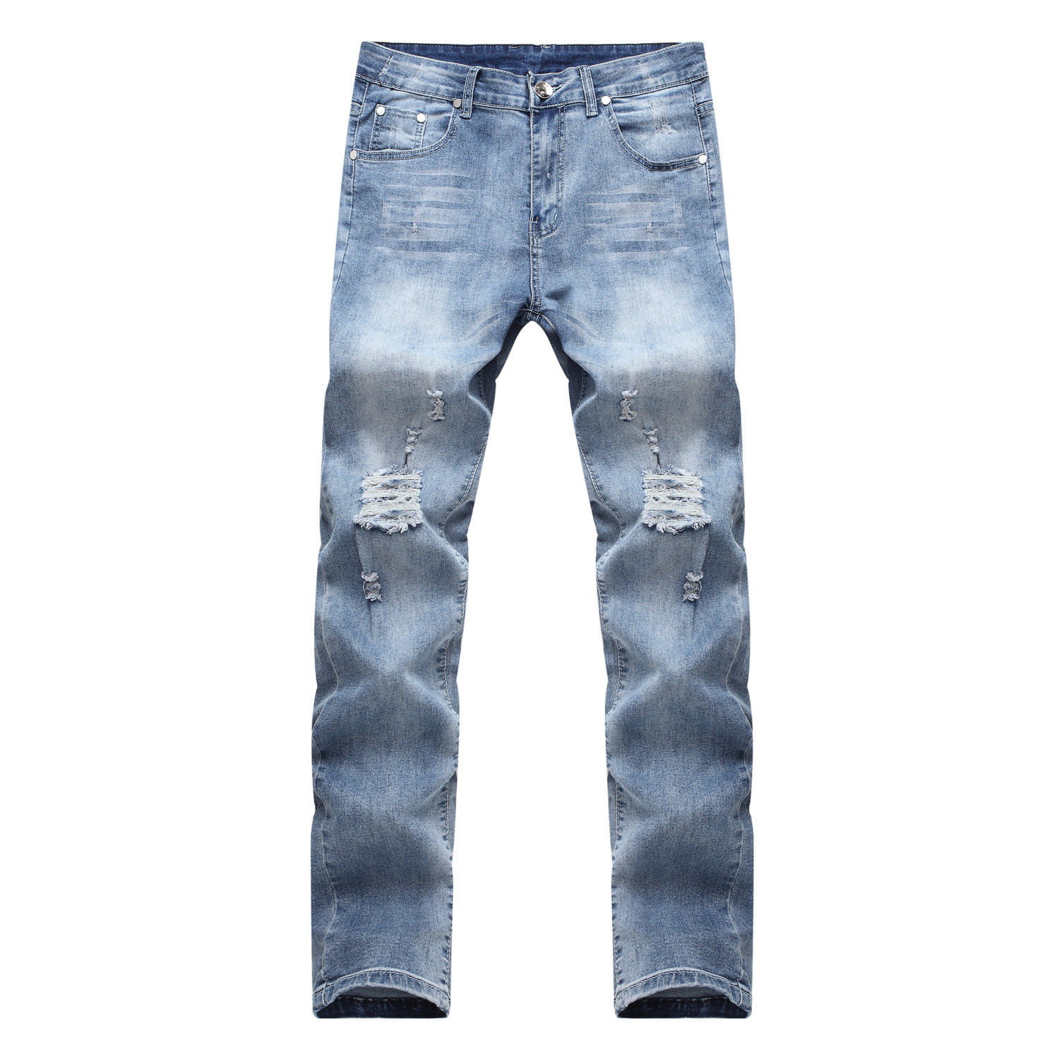New Fashion Mens Designed Straight Slim Fit Denim Trousers Casual Skinny Pants Stylish Mens Pencil Pants Long Skinny Hole Jeans fashion europe style printed jeans men denim jeans slim black painted pencil pants long trousers tight fit casual pattern pants