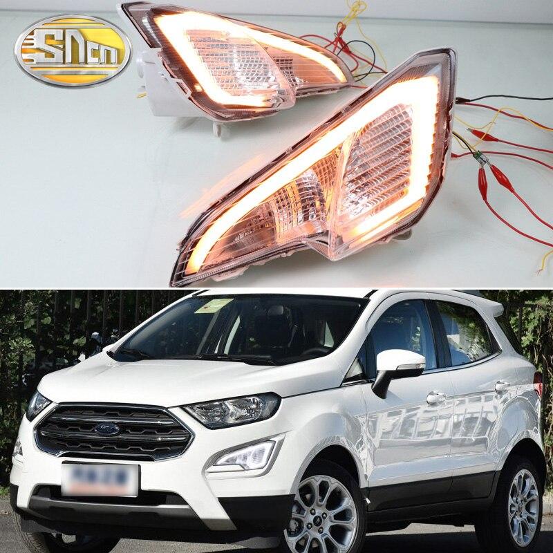 2 pièces led Daytime Running Light Pour Ford EcoSport 2018 2019 Jaune Clignotants Fonction Étanche ABS 12 V Voiture DRL led Brouillard Lampe