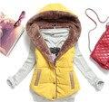 2016 Nova Outono Inverno Moda de Todos Os Jogo Colete de Algodão Mulheres Patchwork Sem Mangas Com Capuz Collar Único Breasted Casaco Casuais YJ960