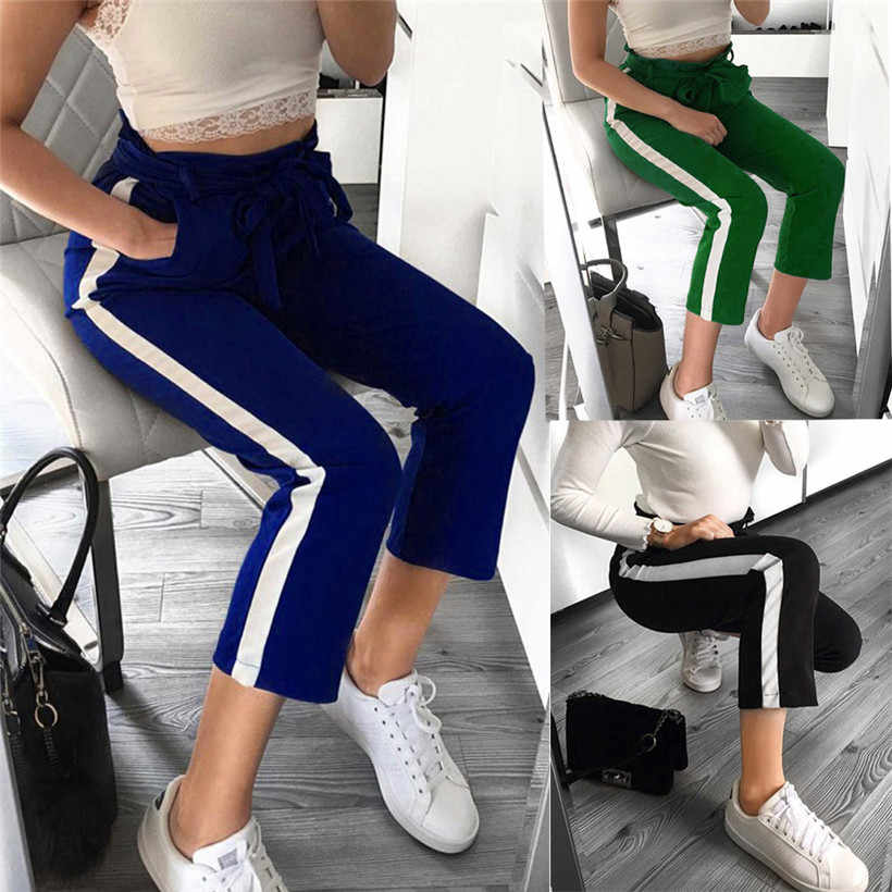 Sports Running Pants Pure Color Striped Women Jogging Pants High Waist  Fitness Sports Yoga Athletic Pocket Running Pant 0907