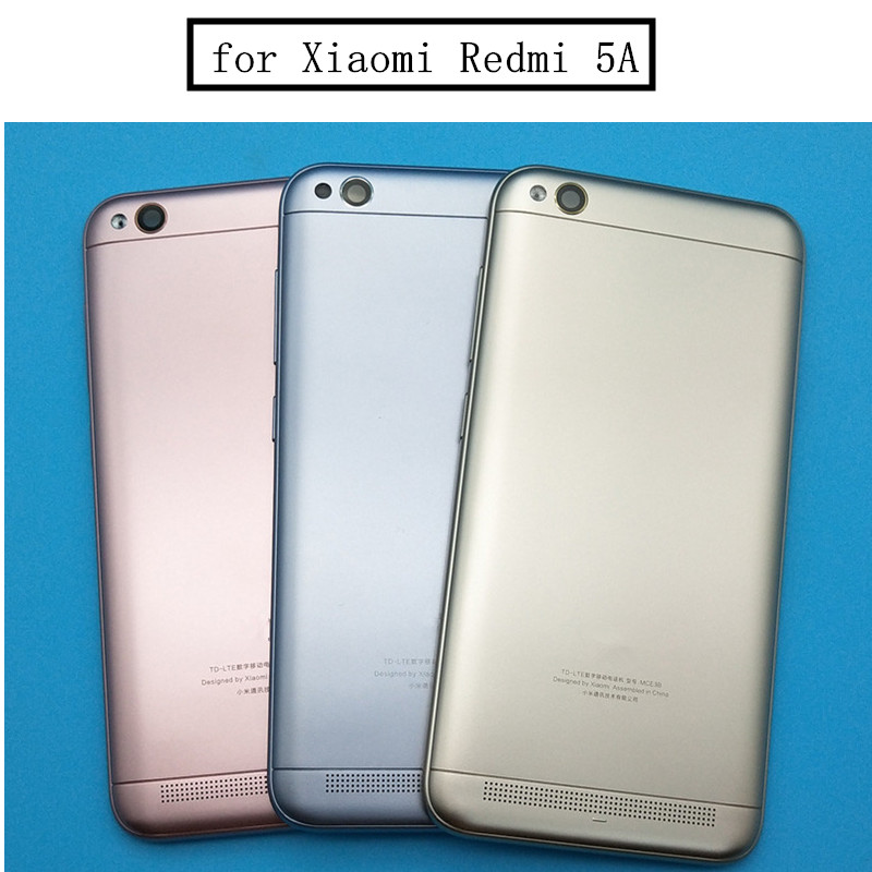 Original For Xiaomi Redmi 5A Battery Back Cover Rear Door Housing + Side Key + Camera Glass Lens Replacement Repair Spare Parts