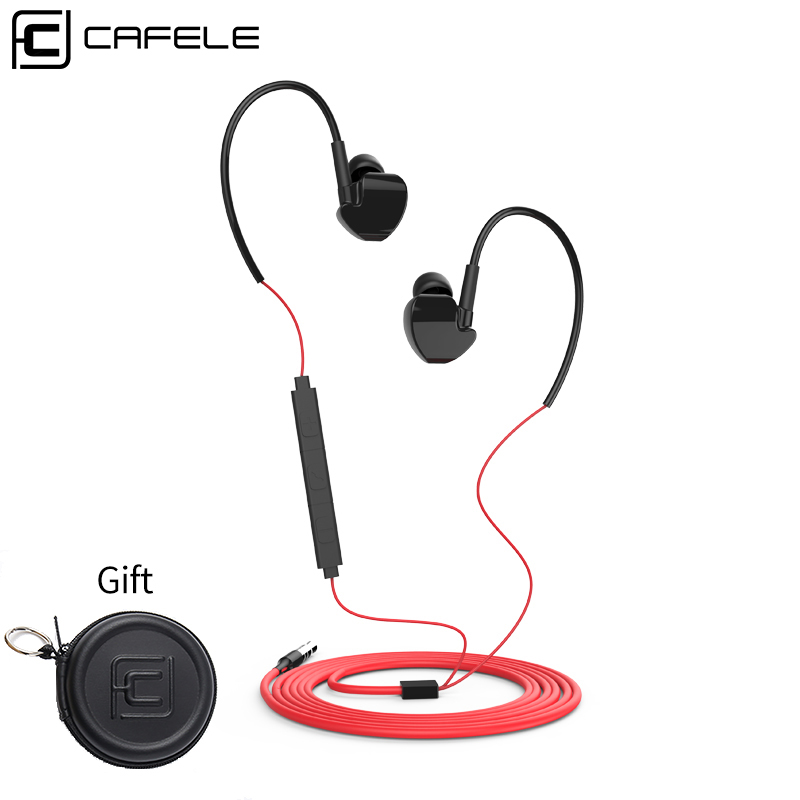 Cafele SHOCK Sport Wire Earphones with Microphone Super Bass Earphone Headset for iPhone 7 8 Xiaomi Earphone Smartphone cafele blue 13m