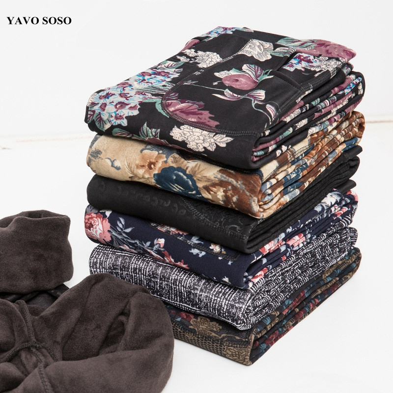 YAVO SOSO  Autumn Winter Style Plus Velvet Warm Leggings Women Plus Size XXXL Printing Flowers 20 Colors Thick Women's Pants