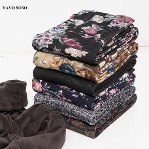 Image 1 - YAVO SOSO סתיו חורף סגנון בתוספת קטיפה חם חותלות נשים בתוספת גודל XXXL הדפסת פרחים 20 צבעים עבה נשים של מכנסיים