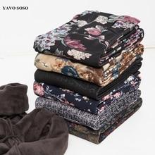 Yavo soso perneiras para mulheres, perneiras de veludo quentes para outono e inverno, impressão de flores 20 cores grossas calças