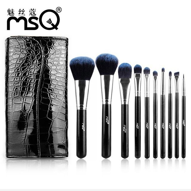 Marca msq profesional 10 unids de cepillo del maquillaje, Contour Maquillaje Herramienta maquillaje Kabuki Powder Foundation, Kit de Maquillaje Con Pu Bolsa De Cuero