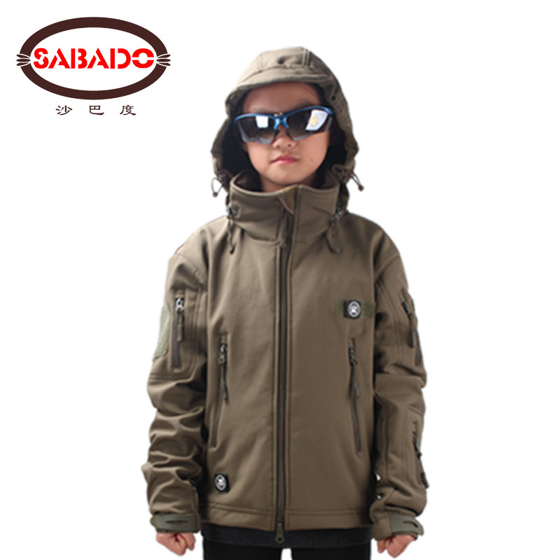 Waterproof Outdoor Camo Waterproof Children TAD Tactical Shark Skin Softshell Hunting Jacket Kids Army Coats Hunting Jackets