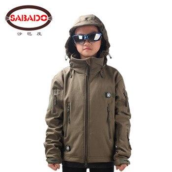Waterproof outdoor camo Waterproof children TAD Tactical Shark Skin Softshell hunting jacket kids Army coats hunting jackets printio hunting for shark