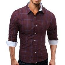 Men's shirt 2017 new fashion brand men's clothing large size foreign trade men hit color lattice Slim long-sleeved shirt M-XXXL