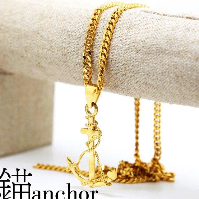 Ancla de oro collares pendientes 70 cm de Largo de Alta Calidad de La Manera Estrella Hiphop oro cadena declaración collar joyería de los hombres