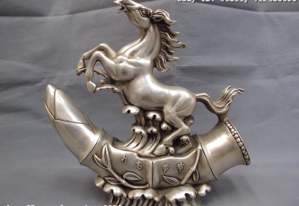 29cm Chinese White Copper Silver Feng shui Lucky Wealth War horse Bamboo Statue29cm Chinese White Copper Silver Feng shui Lucky Wealth War horse Bamboo Statue