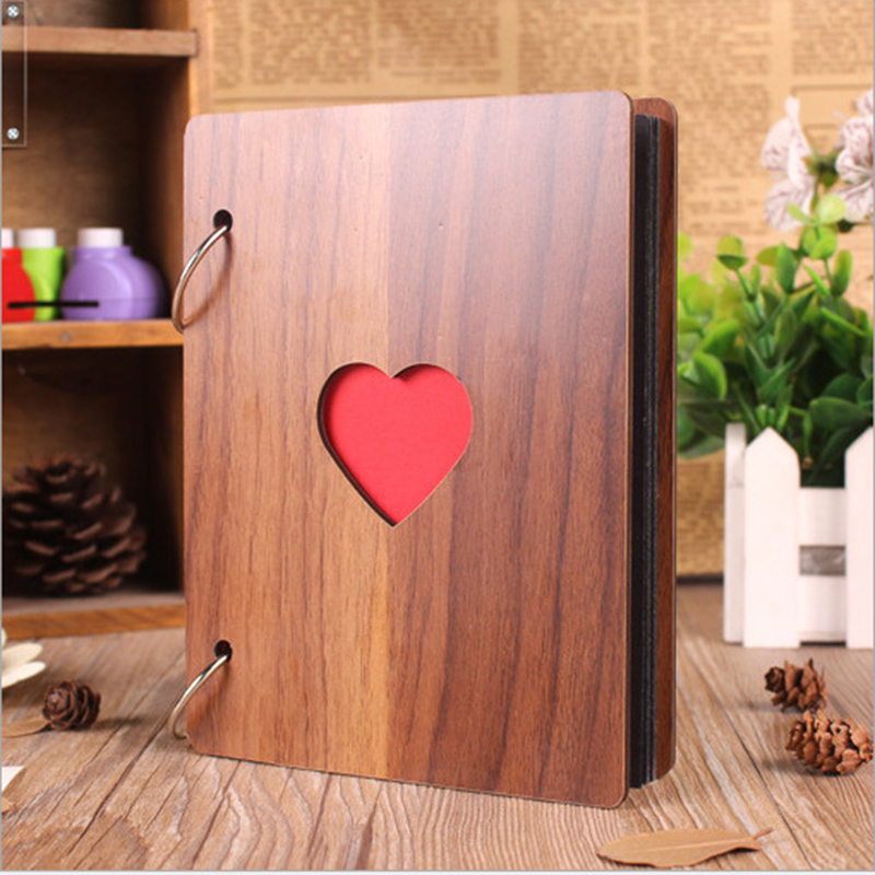 Fashion Photo Album 6 Inch Wooden Cover DIY Album Baby Growth Memory Album Life Photo Embossed Book Wedding Photo Gift in Photo Albums from Home Garden