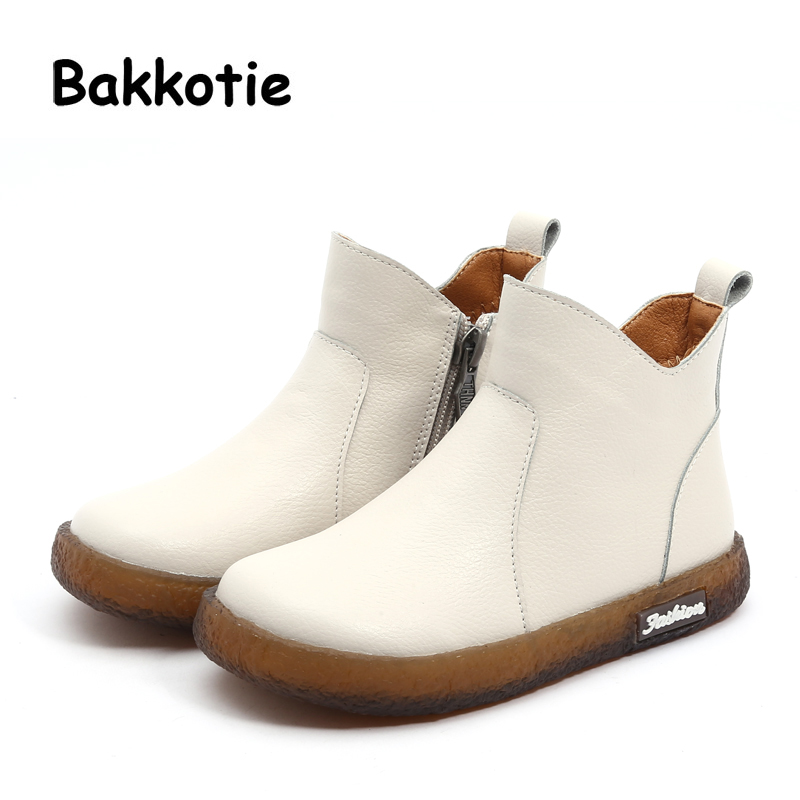 Bakkotie 2018 New Winter Children Genuine Leather Boots Baby Girl Fashion  Boots Kid Soft Black Shoes b7daef28a4e8