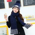 2017 Real Sale Women Adult Acrylic Hot-selling Winter Hat Female Fashion Thermal Knitted Scarf Twinset Plus Velvet Millinery