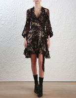 Women Maples Feathery Wrap Dress V neck Silk Ruffles Mini Dress