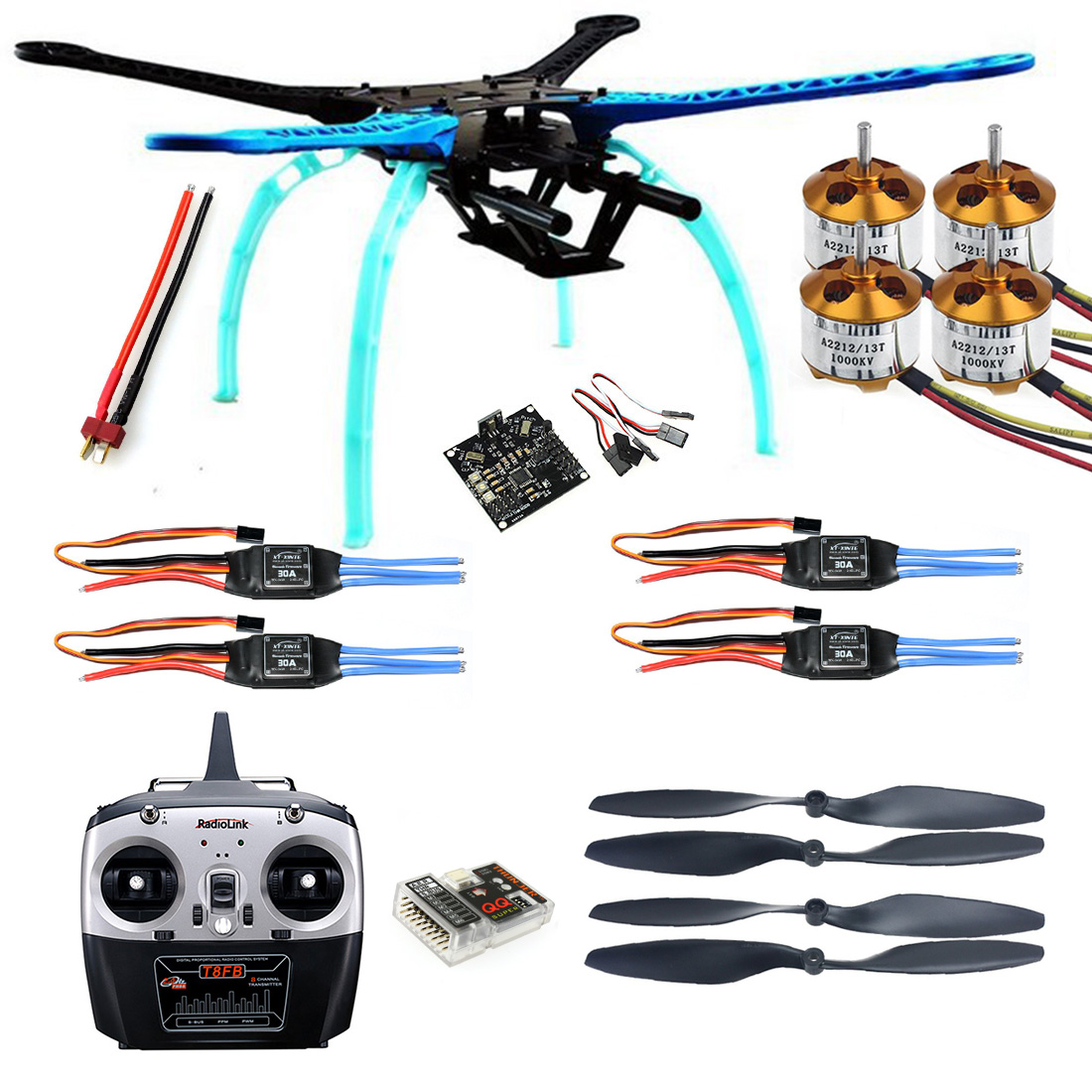 500mm Multi-Rotor Air Frame Kit S500 w/ Landing Gear + ESC + Motor + KK XCOPTER V2.9 Board + RX&TX + Propellers F08151-A 2017 new flower girls party dress embroidered gownceremonial robe dress formal bridesmaid wedding girl christmas princess robe