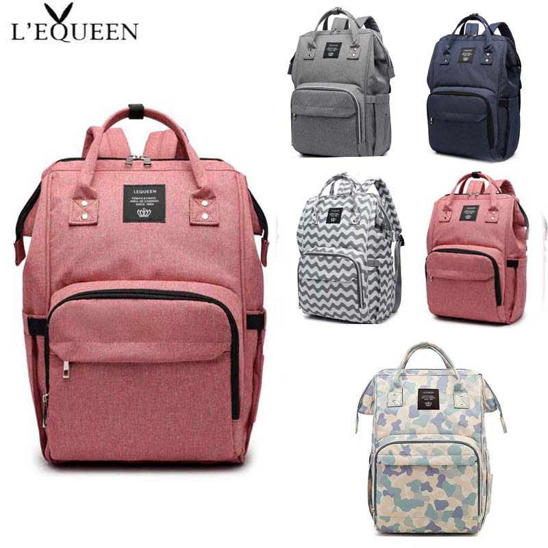 LEQUEEN Fashion Mommy Diaper Bag Portable Maternity Diaper Bag Large Capacity Baby Bag Travel Backpack Waterproof Baby Care Bag