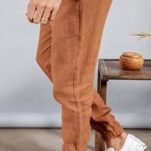 100% pure linen elasticated ankle length pants