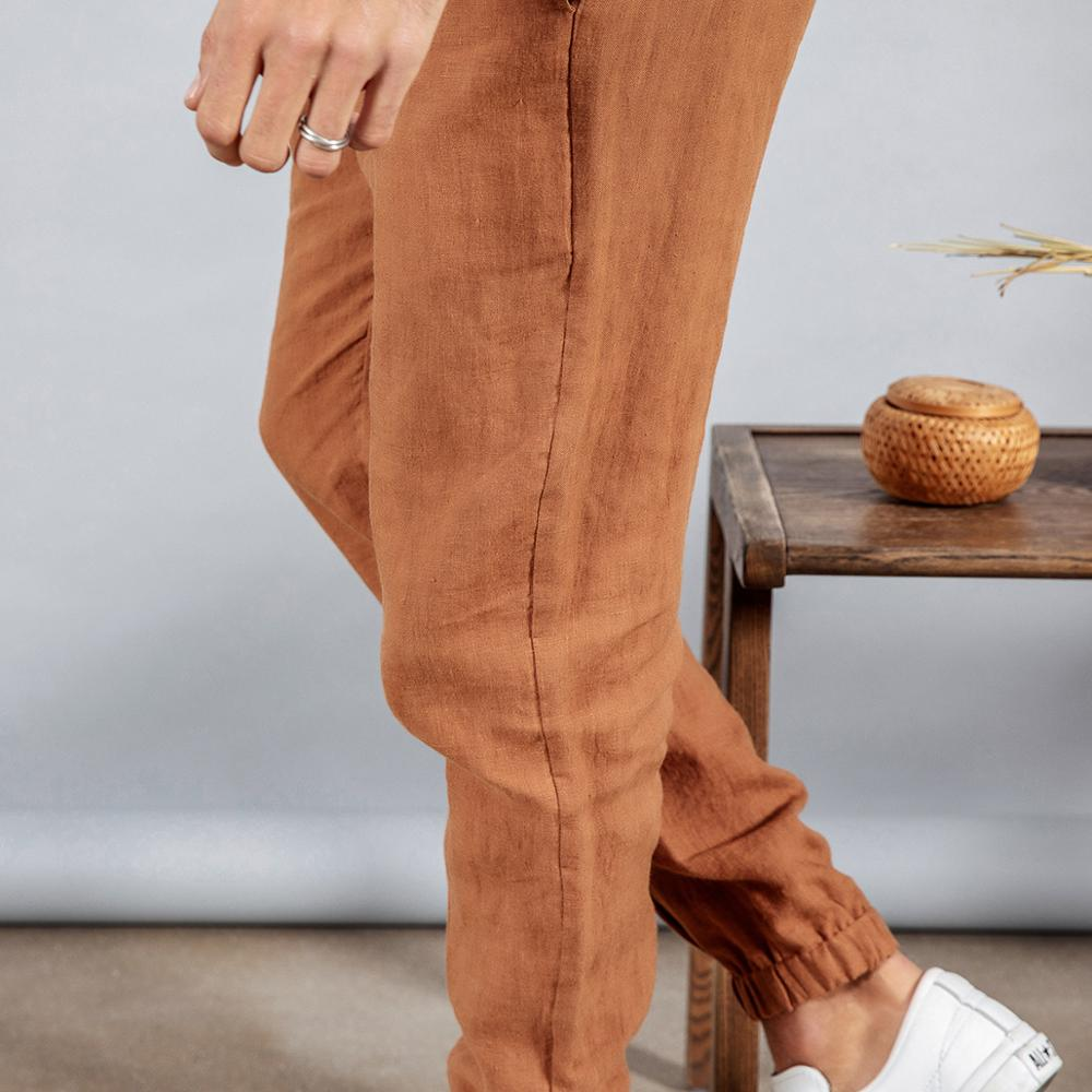 Image 5 - SIMWOOD 2020 spring 100% pure linen ankle length pants men cool  elasticated waistband drawstring plus size trousers male 190095Skinny  Pants