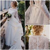 Vintage High Neck Lace Long Wedding Dresses Ruffled Long Sleeves Wedding Dresses Wedding Dress 2019 New Arrival