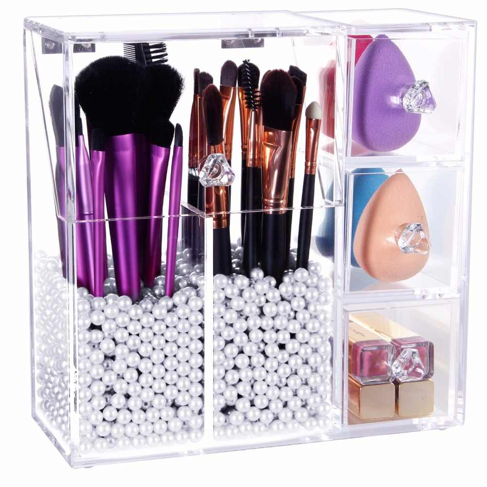 new Acrylic makeup organizer makeup brush Display box Cosmetics tools Storage holder Jewelry Accessory case casket