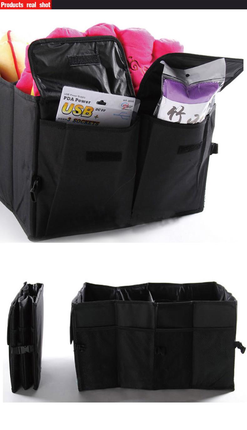 Auto Supplies Car Back Folding Storage Box Multi-Use Tools Organizer Car Portable Storage Bags Black 14