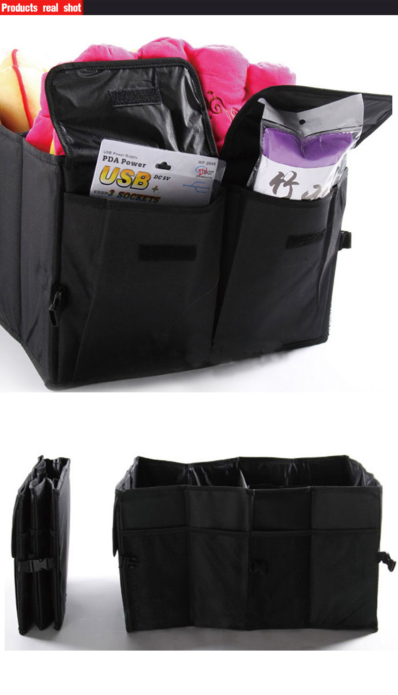 Auto Supplies Car Back Folding Storage Box Multi-Use Tools Organizer Car Portable Storage Bags Black 14