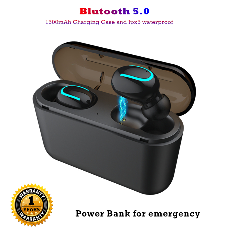 V5.0 Mini auriculares bluetooth inalambrico Bass profundo HD estéreo Real auriculares inalámbricos Bulit-in mic TWS auriculares para iPhone android
