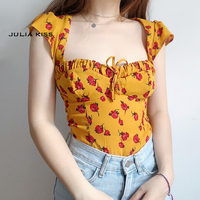 Women Sweetheart Tie Neck Top With Hollow Out Back In Yellow Floral Print