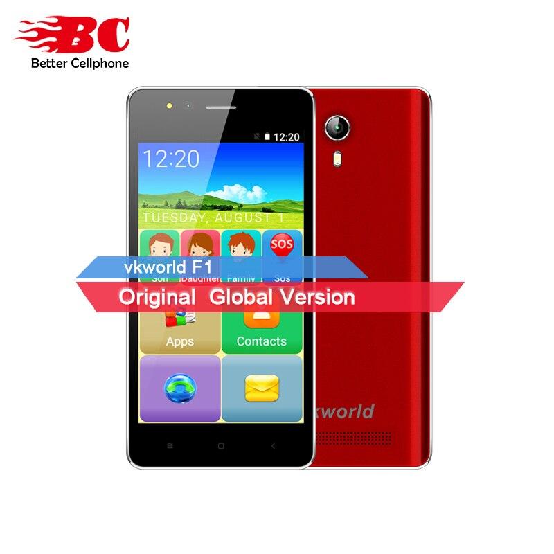 Original VKworld F1 1850mAh 4 5 inch WCDMA Android 5 1 MT6580M Quad Core Elderly Dual