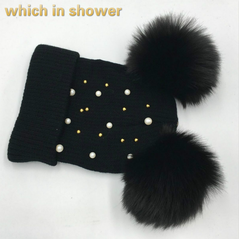 which in shower double faux fox fur pom poms hat female warm knitted cap two pompoms fashion winter   skullies     beanies   with pearl