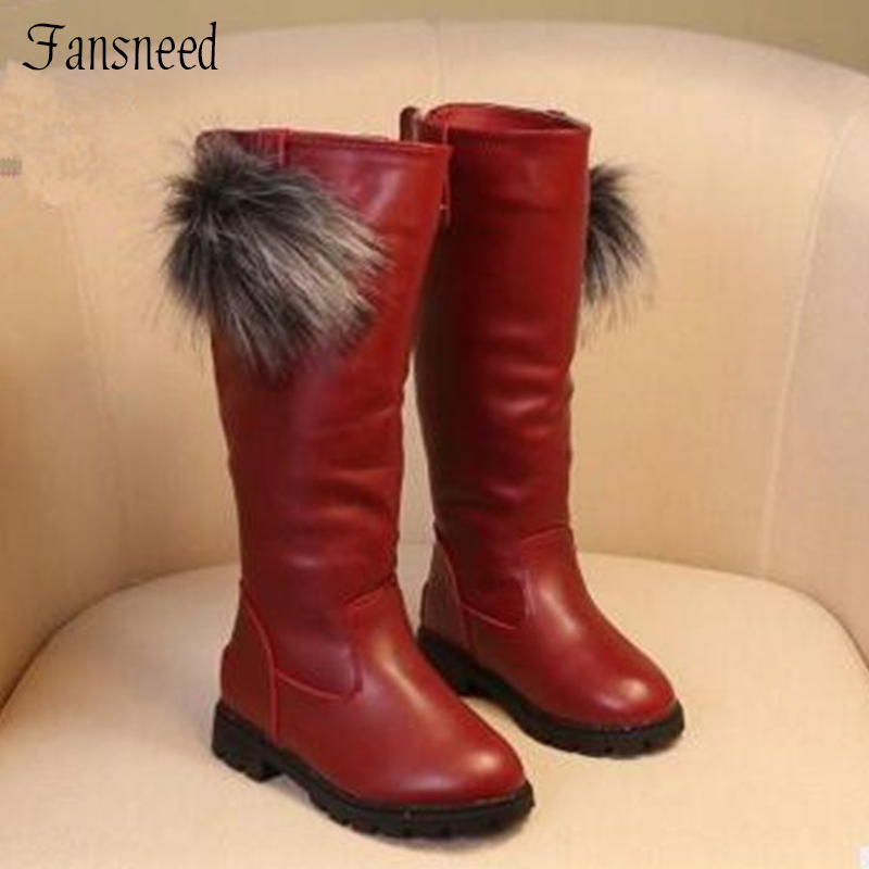 2017 autumn and winter children boots female child princess boots high leg plus velvet boots cotton