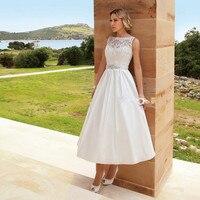 Vintage Bride A Line Tea Length Plus Size Lace Bridal gown 2018 robe de mariage vestido de novia cheap lace Bridesmaid Dresses
