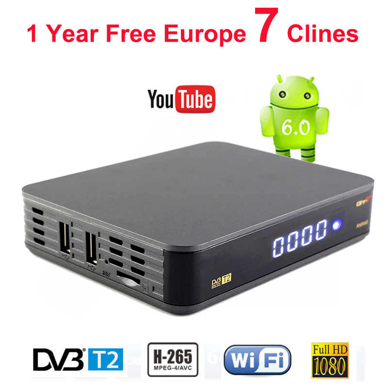 Satellite Receiver GTT DVB-T2 Decoder Support 1 Year Spain Clines 1080P HD Digital TV Receptor H.265 MPEG4 3G Android 6.0 TV Box hot digital car tv tuner dvb t2 car tv receiver hdmi 1080p cvbs dvb t2 support h 264 mpeg4 hd tv receiver for car free shipping