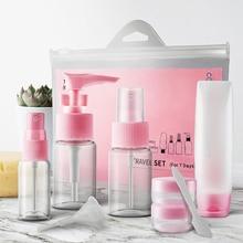 9pcs/set Portable Travel Mini Cosmetic Bottles Points Bottling Plastic Transparent Rotary Spray Bottle Pot Cream Box Makeup