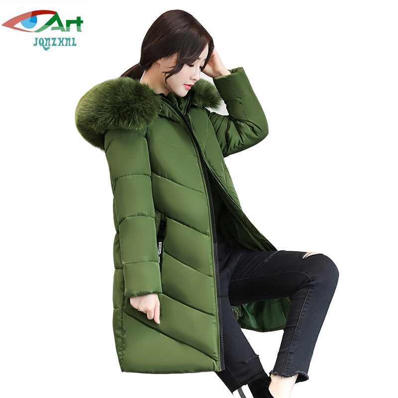 JQNZHNL 2017 New Winter Down Cotton Coats Women Fur Hooded Jacket Outerwear Plus Size 6XL Medium Long Cotton-padded Jackets E829 women jacket 2017 autumn winter new fashion parkas padded ladies coats long quilted jackets plus size xl 2xl outerwear